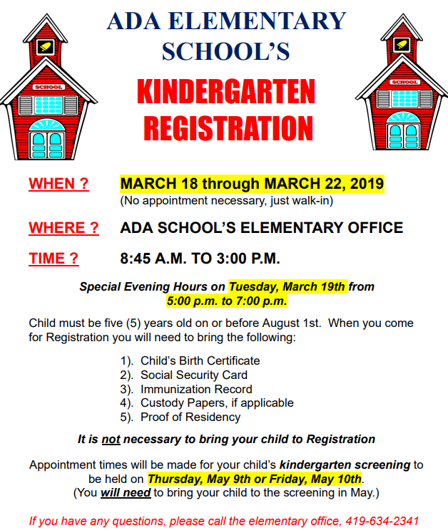 Kindergarten registration March 18-22